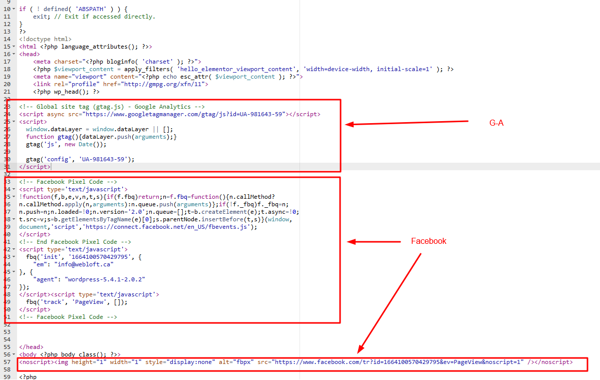 wordpress inserer code dans header.php